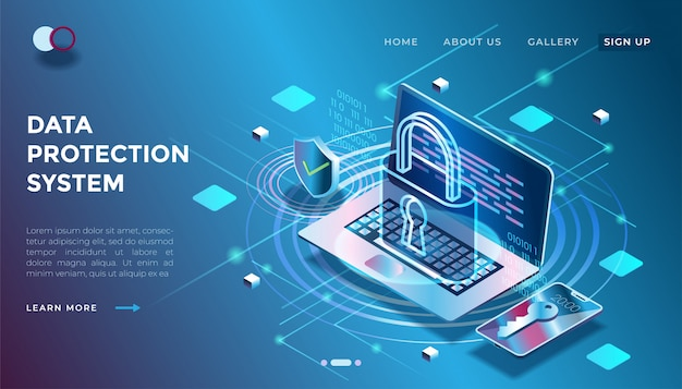 Illustration of a data security system in isometric 3d illustration Premium Vector