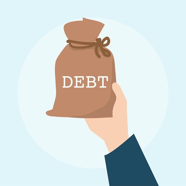 Illustration of debt financial concept Free Vector