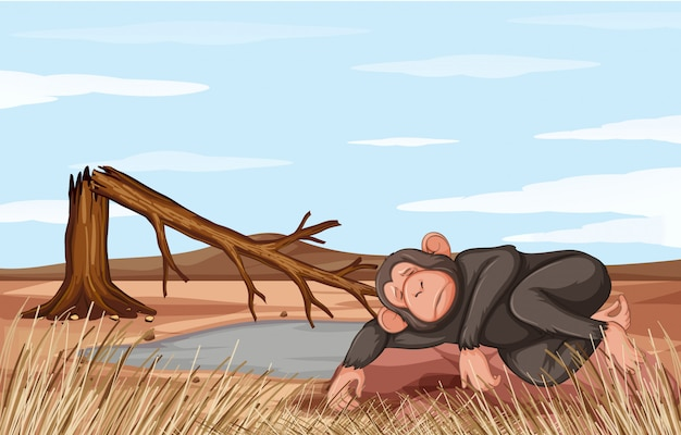 Illustration deforestation scene with dying monkey Free Vector