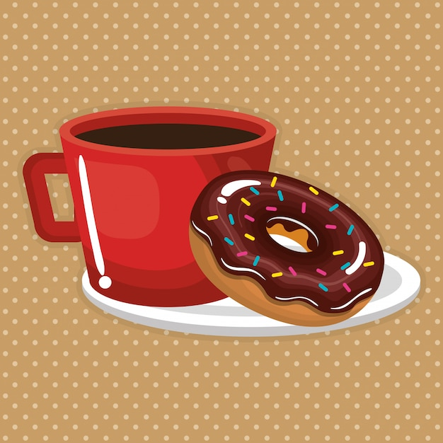 Illustration of delicious coffee cup and donuts Free Vector