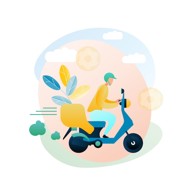 Illustration delivery goods courier home customer Premium Vector
