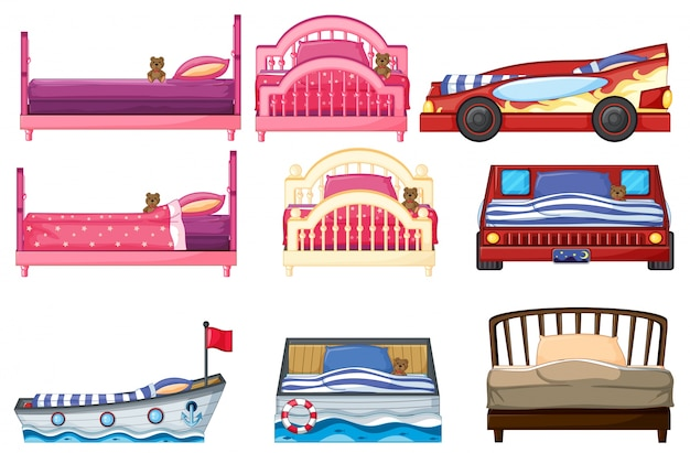 Illustration of different bed design Free Vector