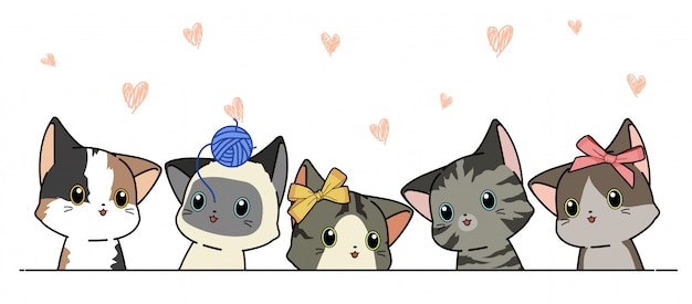 Illustration of different cat characters in cartoon style Premium Vector
