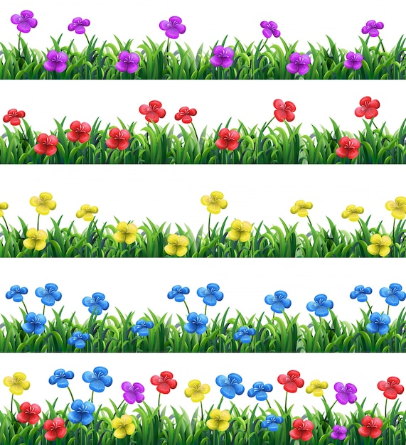 Illustration of different color flowers and grasses Free Vector