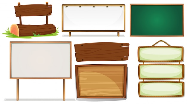 Illustration of different designs of wooden signs Free Vector
