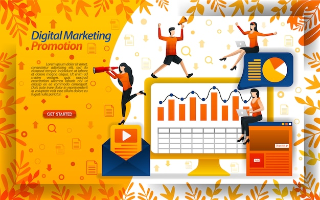Illustration of digital marketing promotion with e-mail and video Premium Vector