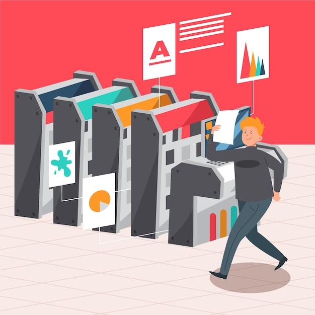 Illustrazione del concetto di stampa digitale Vettore gratuito