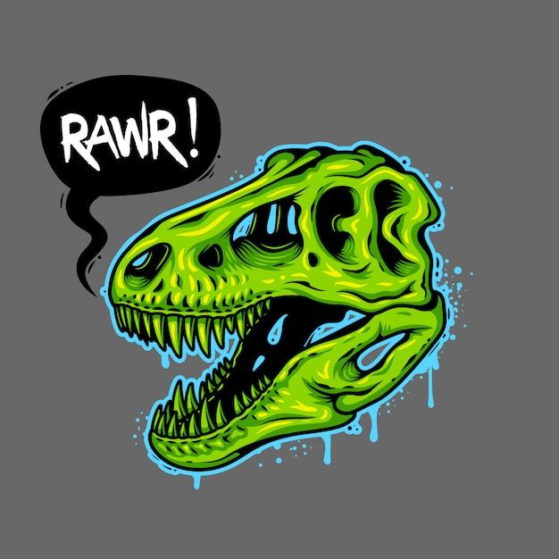 Illustrazione del teschio di dinosauro con bolla di testo. tyrannosaur rex. stampa t-shirt Vettore gratuito