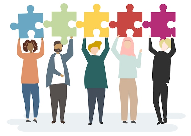 Illustration of diverse characters holding up jigsaw pieces Free Vector