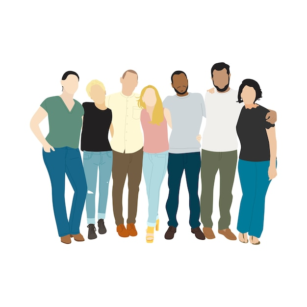 Illustration of diverse people arms around each other Free Vector