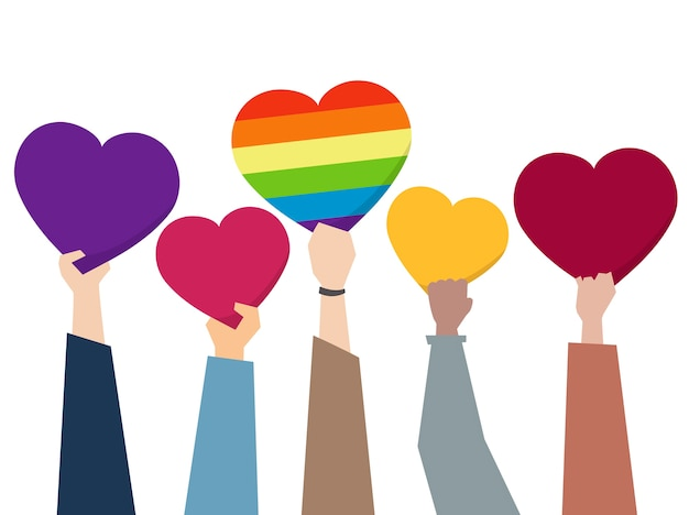 Illustration of diverse people holding hearts Free Vector