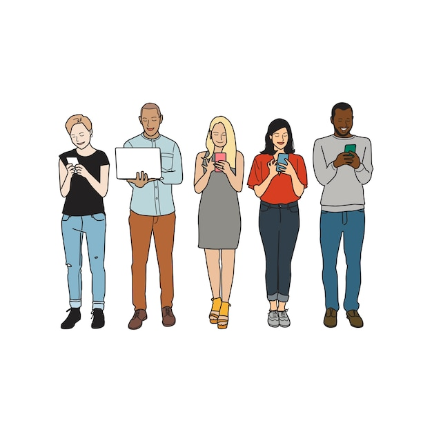 Illustration of diverse people using digital devices Free Vector