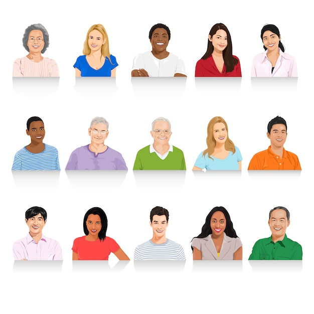 Illustration of diverse people Free Vector