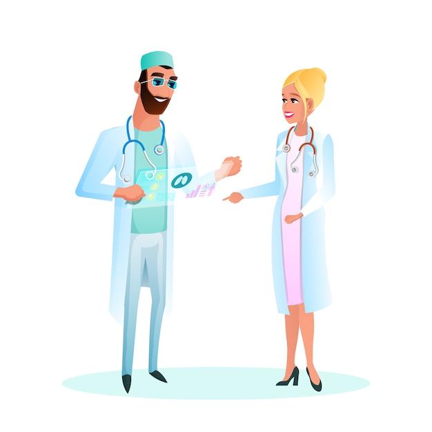 Illustration doctor standing studying patient card Premium Vector