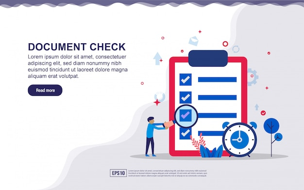 Illustration of document check & business report  with tiny people. illustration for landing page, social media content, advertising. Premium Vector