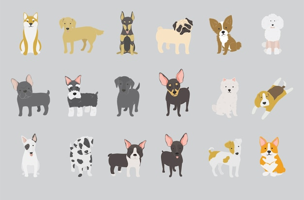 Illustration of dogs collection Free Vector