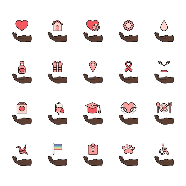 Illustration of donation support icons set Free Vector