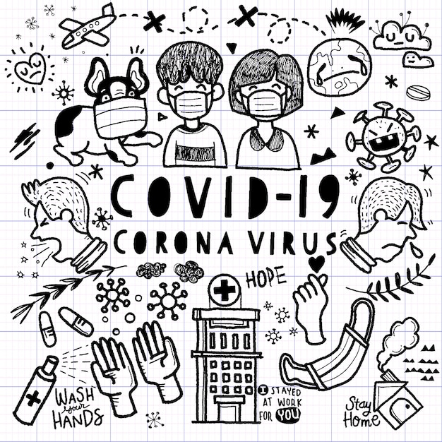 Illustration of doodle cute for corona virus, hand drawn line tools drawing Premium Vector