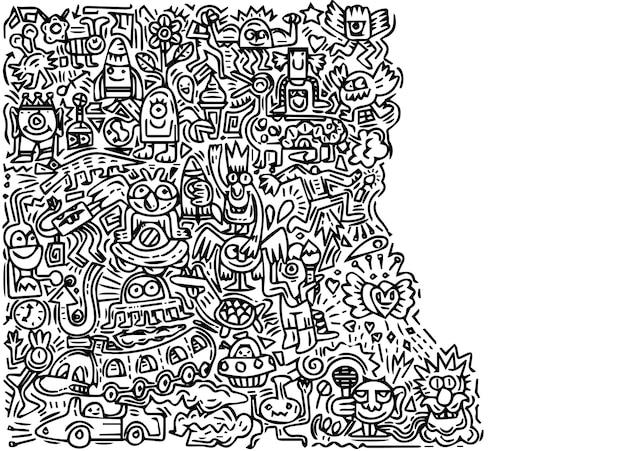 Illustration of doodle cute monster Premium Vector
