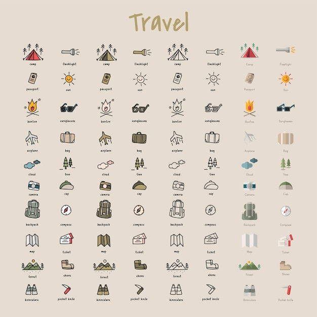 Illustration drawing style of camping icons collection Free Vector