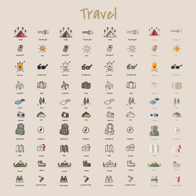 Stile di disegno illustrazione della collezione di icone campeggio Vettore gratuito