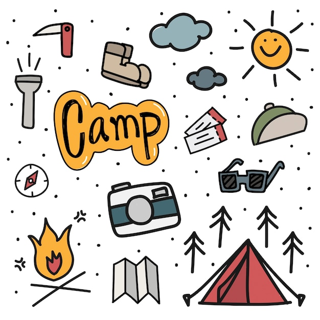 Illustration drawing style of camping icons background Free Vector