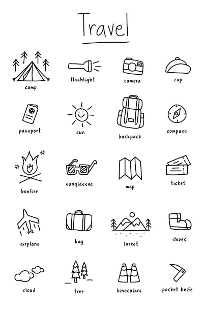 Illustration drawing style of camping icons\ collection