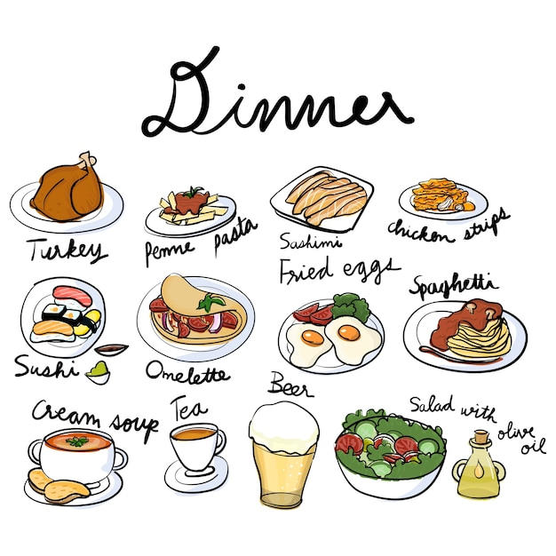 Illustration drawing style of food\ collection