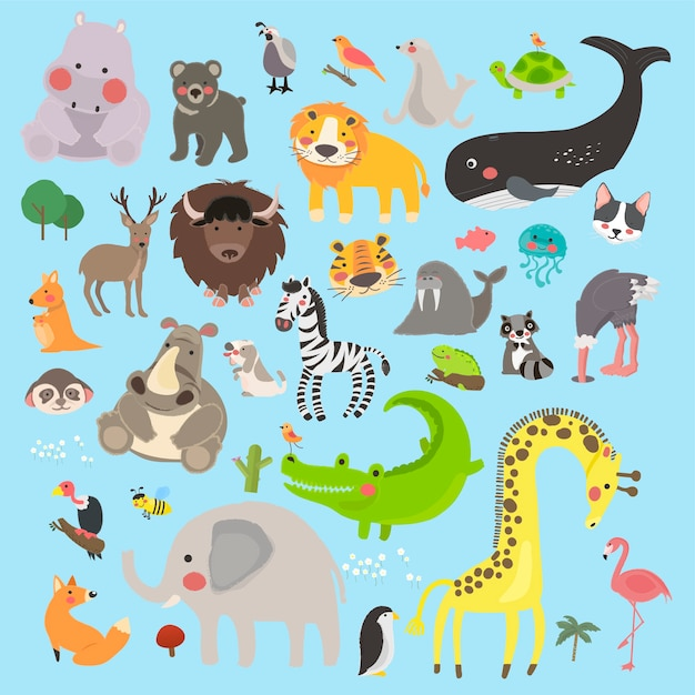 Illustration drawing style set of wildlife Free Vector