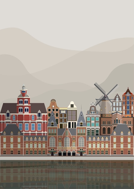 Illustration of the dutch landmarks Free Vector