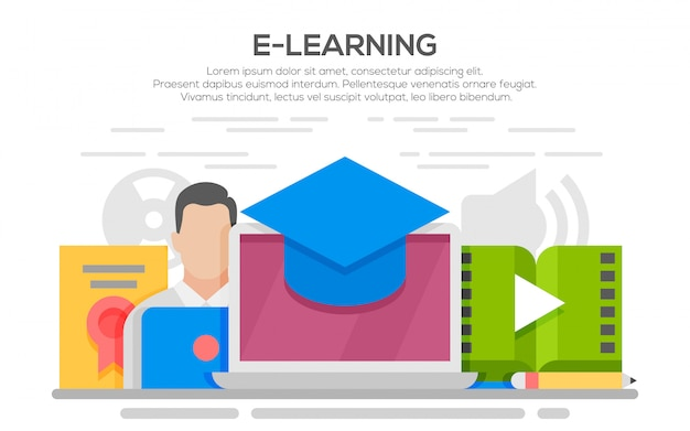 Illustration of e-learning concept flat design, thin line style. Premium Vector