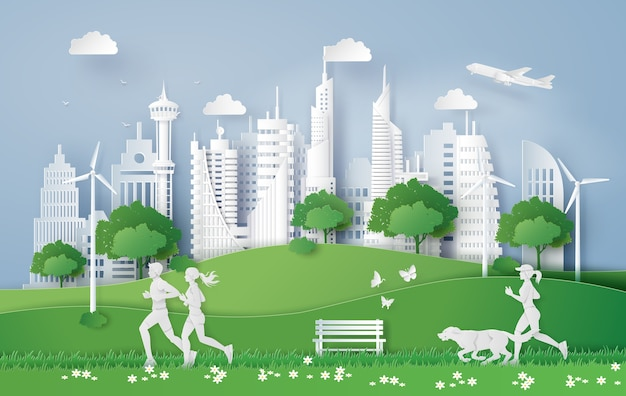 Illustration of eco concept,green city in the leaf. Premium Vector