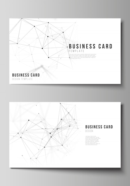 Illustration of the editable layout of two creative business cards design templates. technology, science, medical concept. Premium Vector