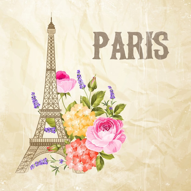 Illustration of the eiffel tower on a vintage background with flowers. Free Vector