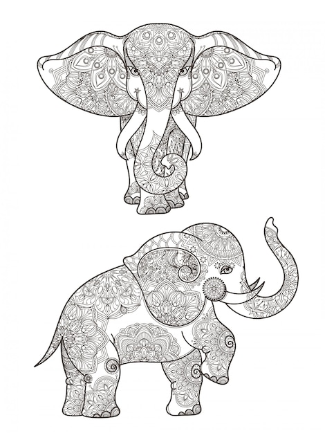Illustration of elephant with mandalas vector decoration. elephant ethnic with pattern mandala decor Premium Vector