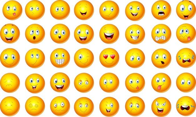 Illustration of emoticon set Premium Vector