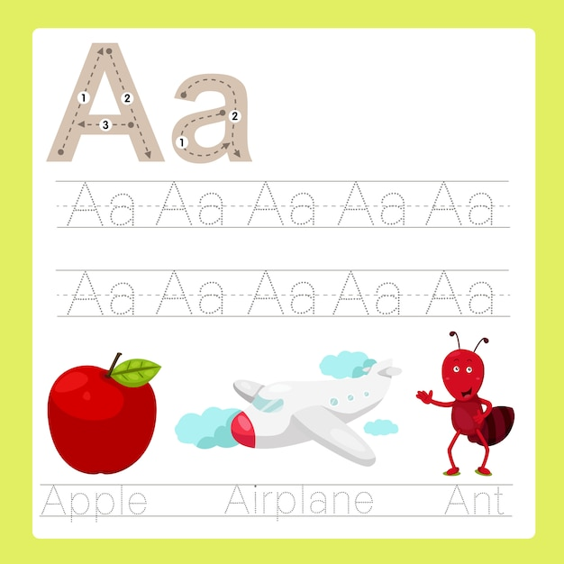 Illustration of a exercise a-z cartoon vocabulary Premium Vector