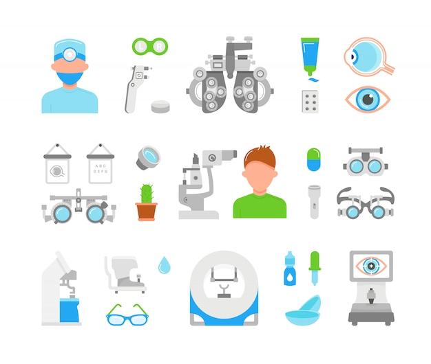 Illustration of eye exam Premium Vector