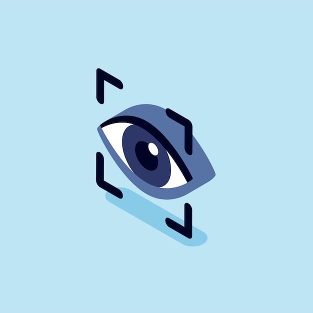 Illustration of eye recognition scanning Free Vector