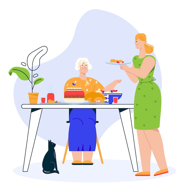 Illustration of family dinner. grandmother sits at festive dining table. granddaughter or daughter serves dish. family celebrates holiday, eating food together, relationship concept Premium Vector