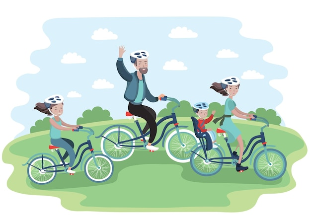 Illustration of a family going for a ride on their bikes Premium Vector
