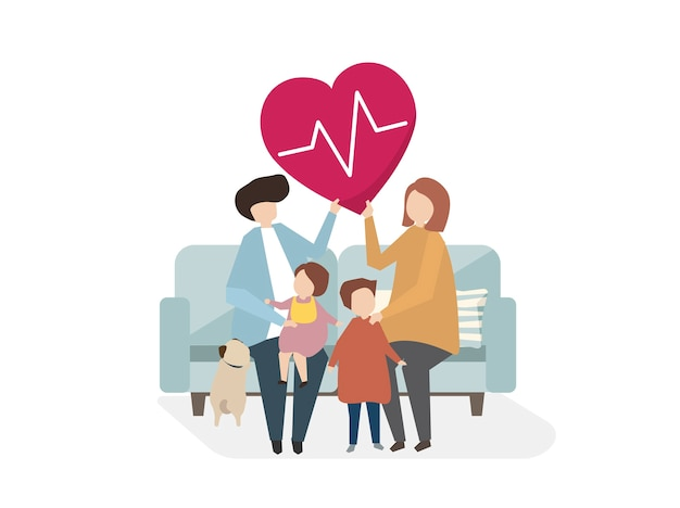 Illustration of family healthcare Free Vector