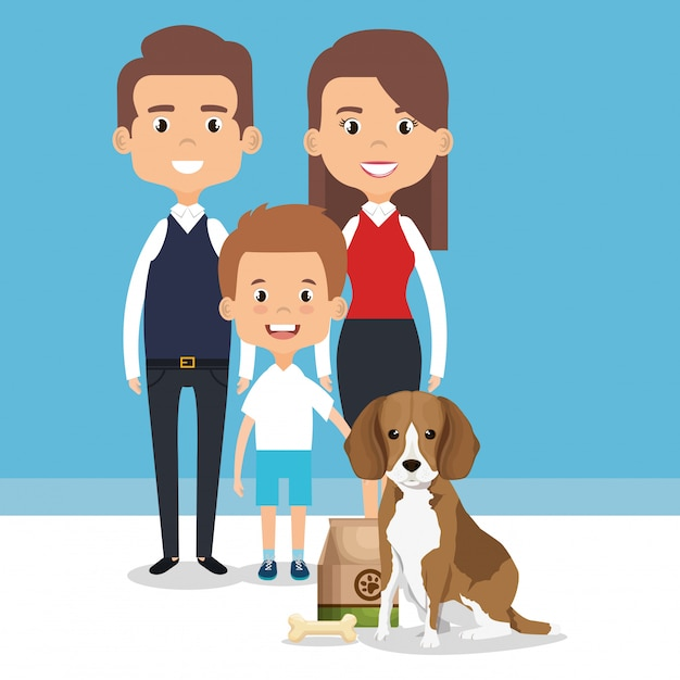 Illustration of family members with pet characters Free Vector