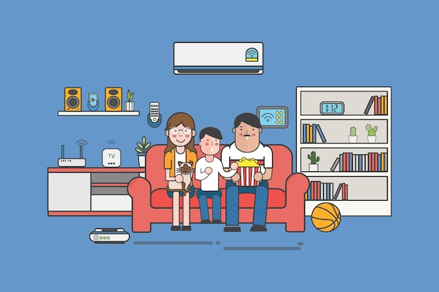 Illustration of a family watching tv at home Free Vector