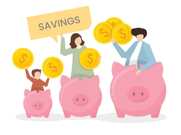 Illustration of a family with a piggy bank Free Vector