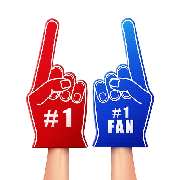 Illustration of fan foam gloves in red and blue color Free Vector