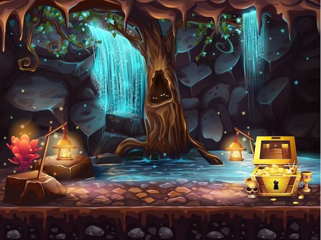폭포, 나무와 보물 상자가있는 그림 판타지 동굴 프리미엄 벡터