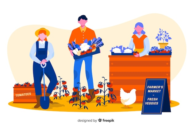 Illustration of farm people working together Free Vector