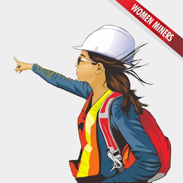 Illustration of a female miner Premium Vector