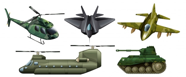 Illustration of the fighting vehicles on a white background Free Vector